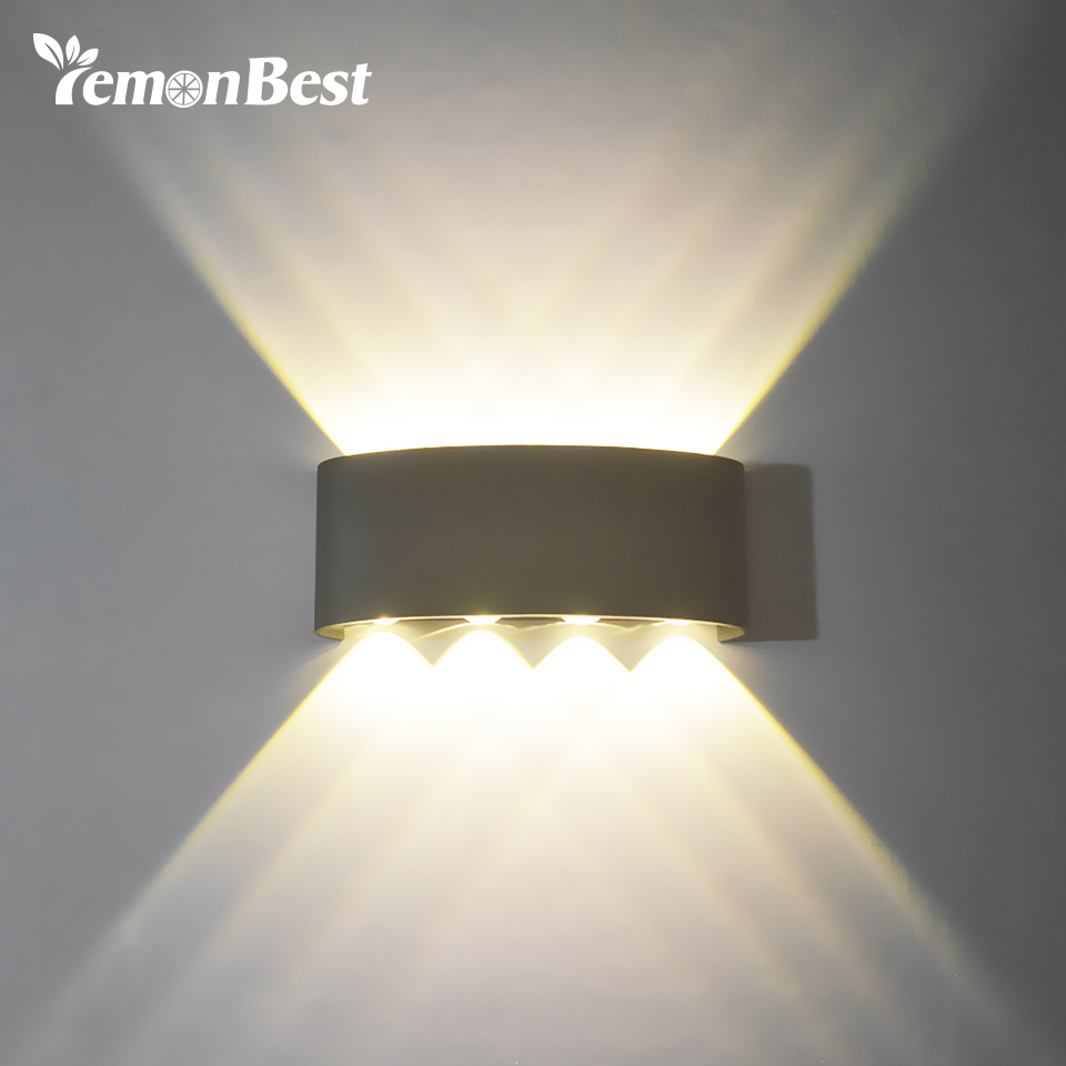 8w 8led cob dual head led wall light up down wall mounted light security waterproof wall lamp. Black Bedroom Furniture Sets. Home Design Ideas