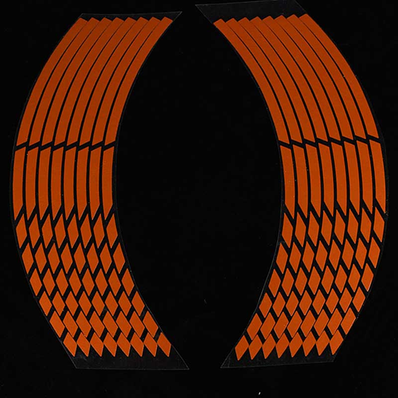 16pcs/set Strips Orange Reflective Motorcycle Car Rim Stripe Wheel Decal Tape Sticker Bicycle Stickers Decoration Accessories
