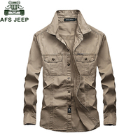 AFS JEEP Military Army Green Shirt 2018 Casual Brand Shirt Men 100% Cotton Long Sleeves Plus Size 6XL Shirts Camiseta masculina