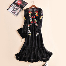 2016 spring and summer women's runway fashion high quality embroidery flower long-sleeve fish tail maxi tulle dress
