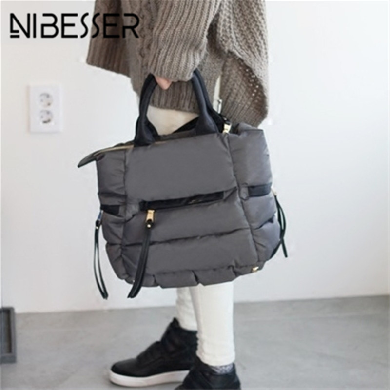 NIBESSER Stylish Winter Space Bale Handbags Woman Casual Space Cotton Tote Bag Down Feather Padded Female Shoulder Crossbody Bag
