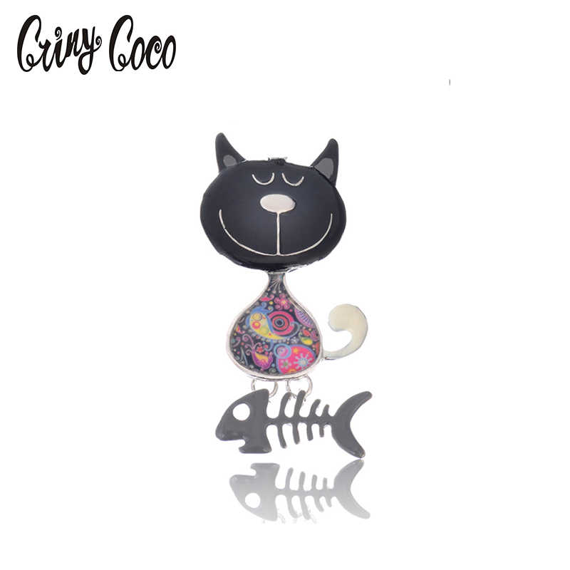 Fashion Pesta Lucu Enamel Bros Pin Fashion Perhiasan Vintage Zinc Alloy Cat & Fish Bros Gaun Aksesoris untuk Wanita Bros