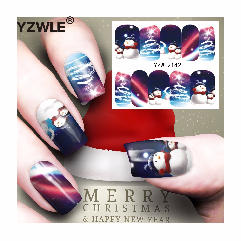YZWLE 1 Sheet Christmas Design DIY Decals Nails Art Water Transfer Printing Stickers Accessories For Manicure Salon (YZW-2142) yzwle 1 sheet hot gold 3d nail art stickers diy nail decorations decals foils wraps manicure styling tools yzw 6015