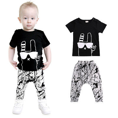 2pcs Baby Boys Girls Clothes 2016 New Arrival Summer Cute Black Top T Shirt and Pant Outfit Kids Bebes Clothing Set 0-24M summer girls boys clothes kids set velvet hello kitty cartoon t shirt hoodies pant twinset long sleeve velour children clothing
