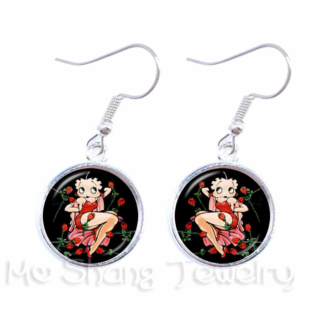 The New Classic Betty Boop Gravity Falls Earrings  Silver Plated Dangle Earrings Glass Dome Handmade Jewelry For Women