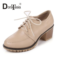 DoraTasia Fashion Lace Up Chunky High Heel Woman Shoes British Platform Pumps Women More Colors Comfortable Casual Shoes