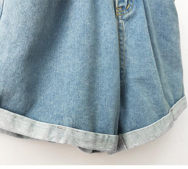 Roll Up Hem Elastic Waist Pocket Blue White Jeans Female 34