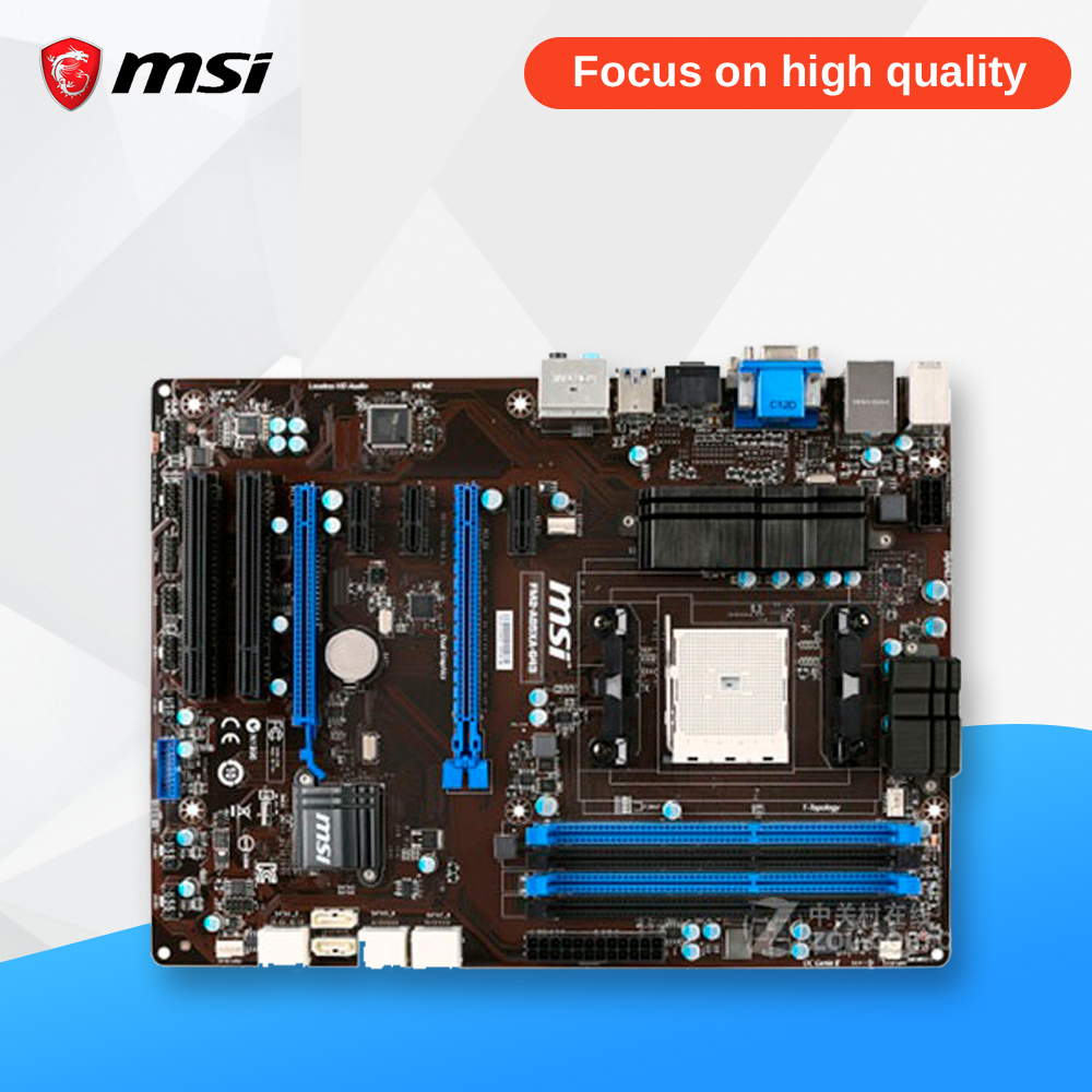 MSI FM2-A85XA-G43 Original Used Desktop Motherboard A85X Socket FM2 DDR3 SATA3 USB3.0 ATX msi p41 c31 original used desktop motherboard p41 socket lga 775 ddr3 4g sata2 usb2 0 atx