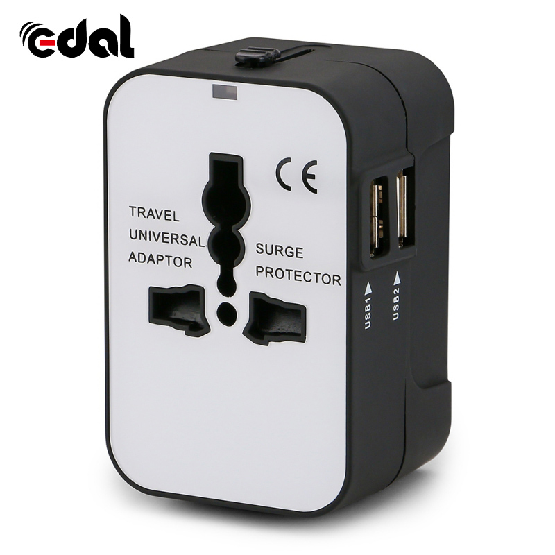 Universal International Plug Adapter 2 USB Port World Travel AC Power Charger Adapter Converter Plug
