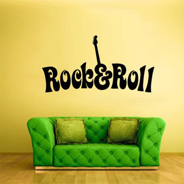 Wall Decor Wall Vinyl Sticker Bedroom Decal Rock N Roll Guitar Words ...