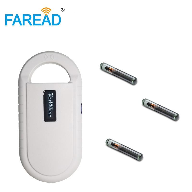 X80pcs 1.4*8mm IP68 RFID Glass Tag For Fish Small Animal +1pc 134.2khz FDX-B Tag Animal ID Microchip Scanner Chip Reader
