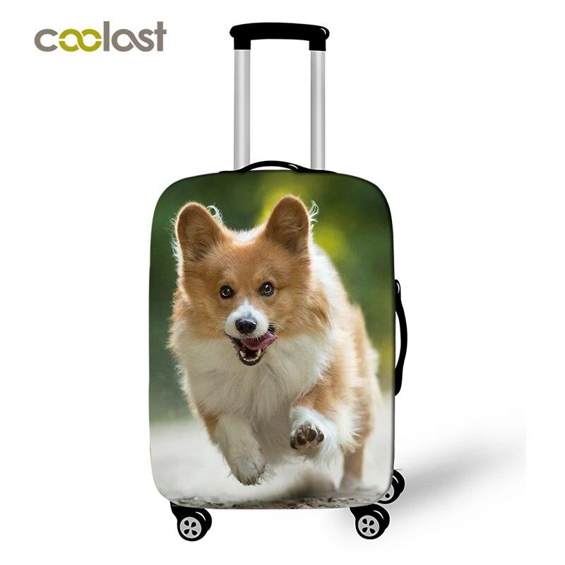 Gedisciplineerd Mooie Corgi Hond Reizen Bagage Beschermende Covers Vrouwen Leuke Bagages Roulettes Meisjes Puppy Koffer Covers Travel Accessoires