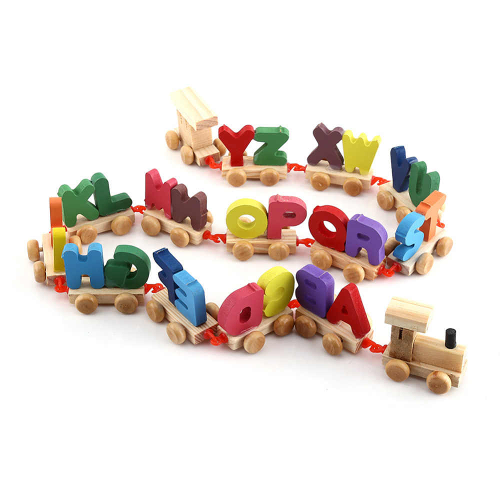 Wooden Train Figure Model Toy with Alphabetical Number Colorful Wooden Letters Train Educational Assemble Toy Set Palying Toys