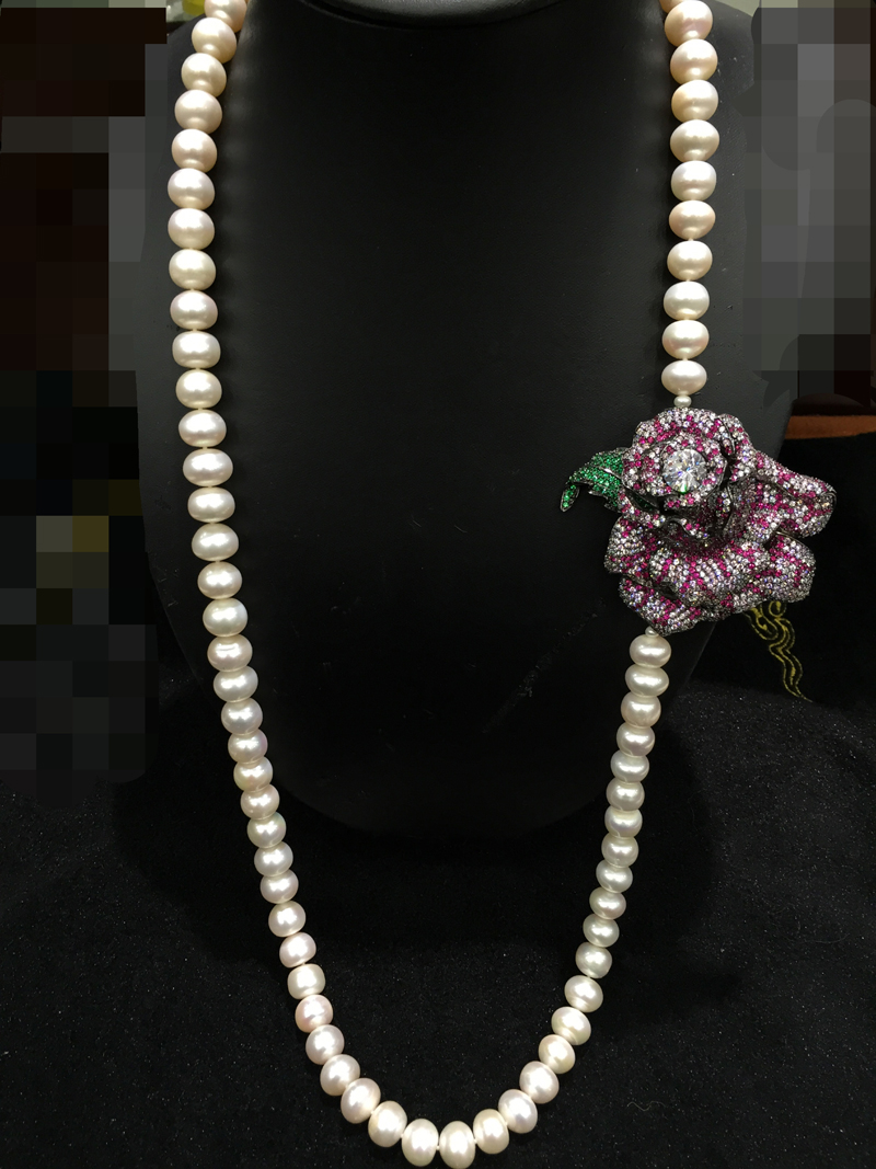 11 12MM Big Fresh water pearl Necklace With Rose Flower Romantic Long Real Pearl Necklace 86CM Fashion Women jewelry