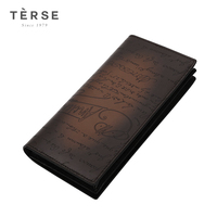 TERSE Men's Long Wallet Genuine Leather Clutches With more card pockets Fashion Vintage Wallet For Male DT0719 1&DT0412 1
