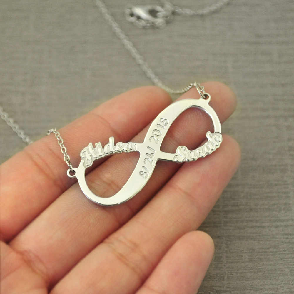 Personalized Infinity Necklace Infinity Pendant Two Names Necklace with Date Valentine's Gift Girlfriend Gift Mother Gift