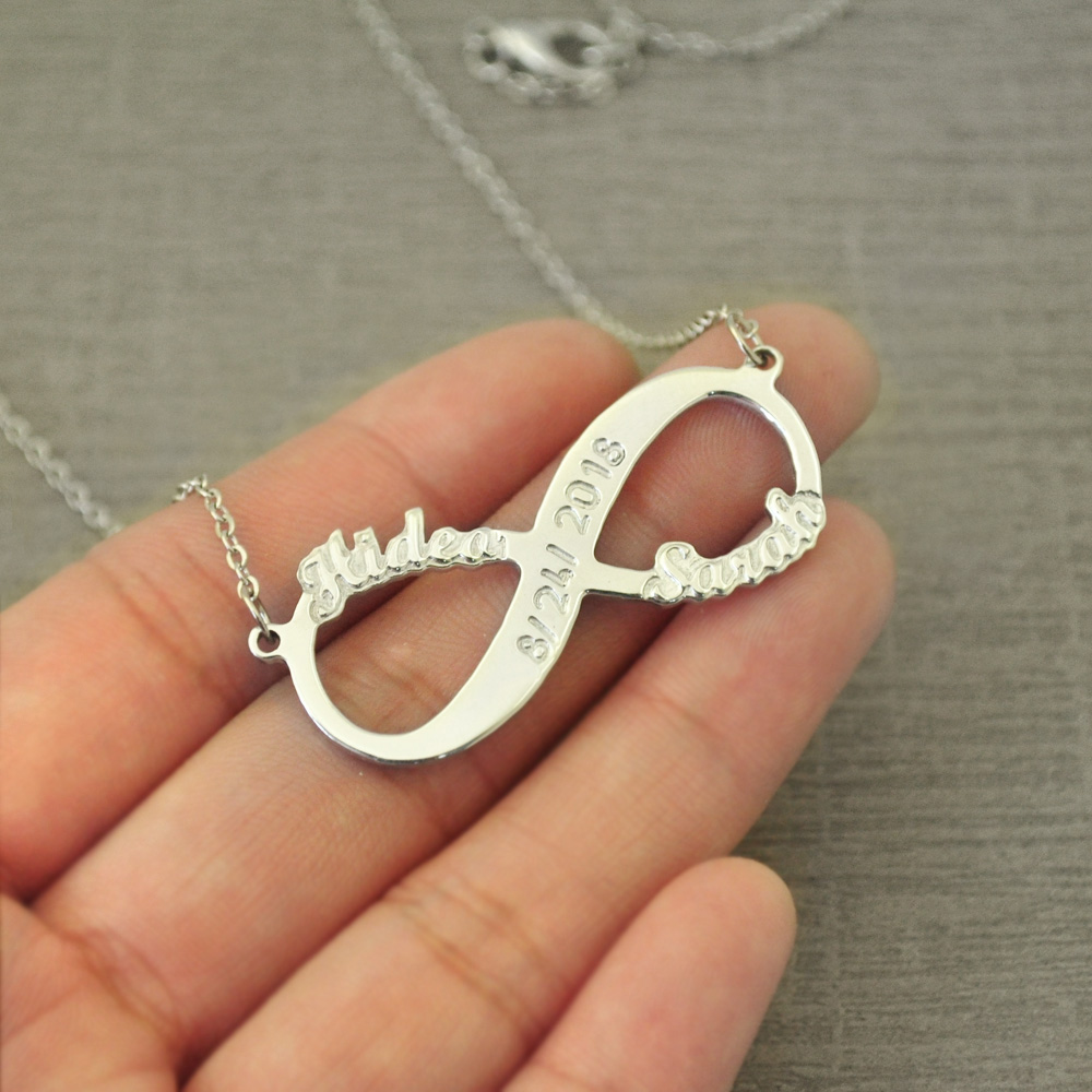 VALENTINES GIFTS FOR HER Silver Infinity Crystal Necklaces Wife Love Girlfriend