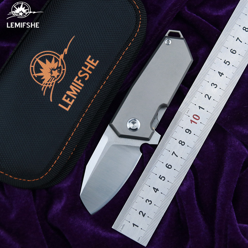 LEMIFSHE NF01 New Flipping folding knife D2 blade bearing titanium handle outdoor hunting camping pocket knife