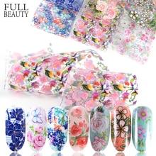 10pcs Nail Flowers Foil Set Mixed Designs Nail Art Transfer Sticker Starry Paper Adhesive Floral Prints Nail Art Decor Tip CH787