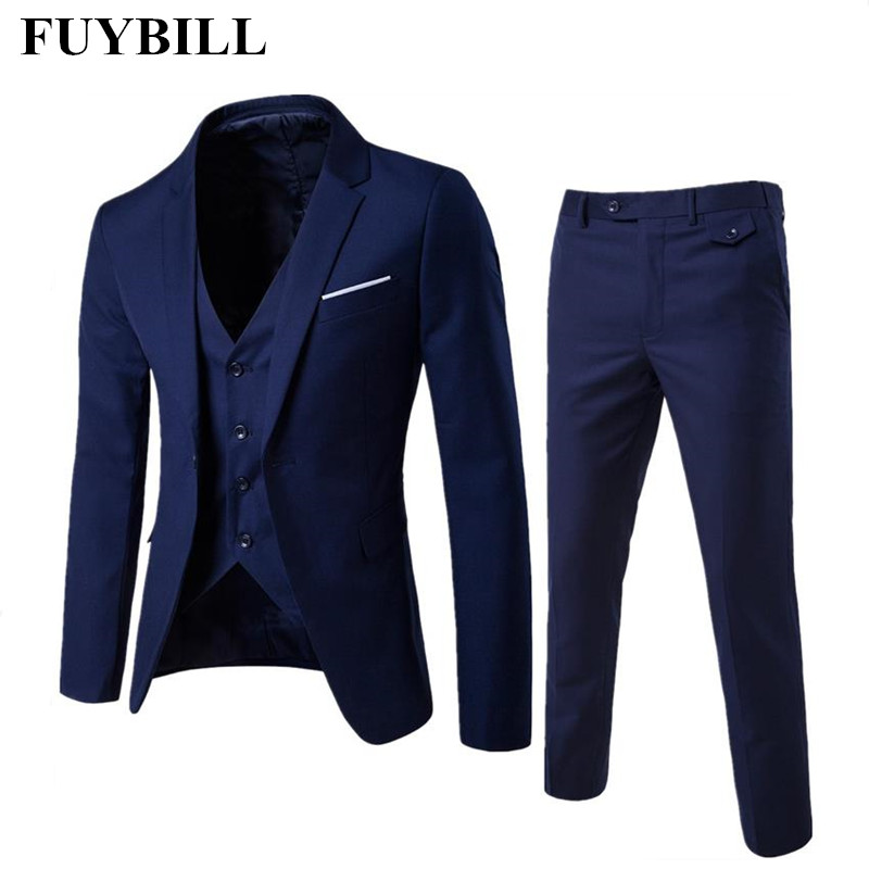 FuyBill 2018 New Fashion Large Size Korean Business Suit Men Three Pieces of Suit and Groom Wedding Dress Casual Men's Suit