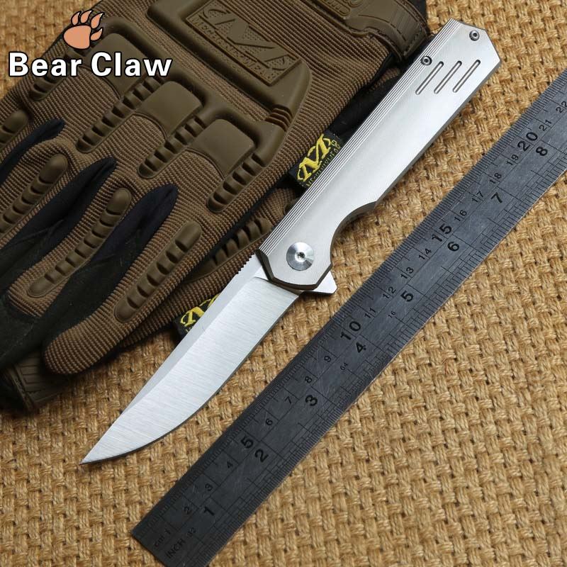 Bear claw three lines Flipper folding knife M390 blade titanium handle camping hunting survival outdoor gear knives EDC tools
