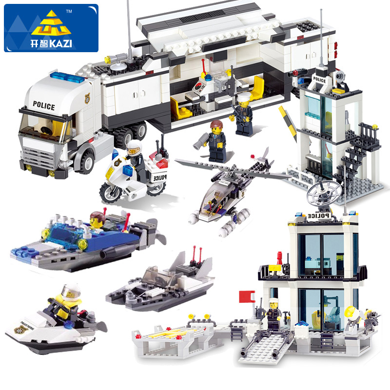 KAZI 6727 Building Blocks Police Station Coastal Guard SWAT Truck Model Blocks DIY Bricks Educational Toys For Children Kid Gift kazi 228pcs military ship model building blocks kids toys imitation gun weapon equipment technic designer toys for kid