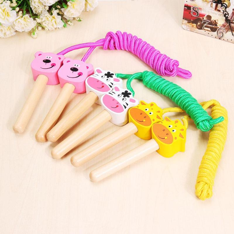 Lovely Cartoon Children Wooden Handled Jumping Rope Skipping Cord for Kids Outdoor Fitness Game 3 colors