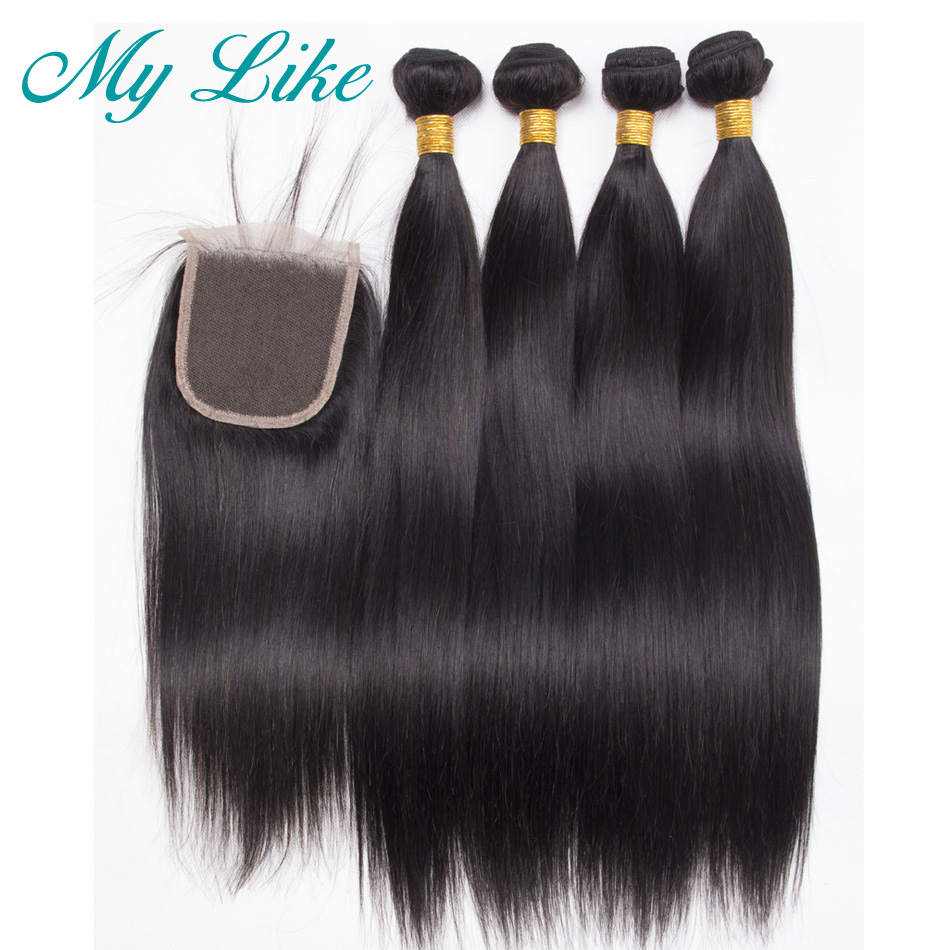 My Like Pre-Colored Straight Human Hair Bundles With Closure Natural 1b Indian Hair Weave 4 Bundles With Closure Non-remy