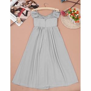Image 5 - 3 10 yıl Çocuklar Kızlar Kapalı omuz Pilili Şifon Çiçek Kız Elbise kız düğün parti vestidos infantis çocuk Kız Elbise