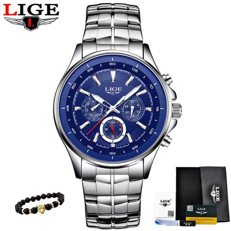 LIGE Uhren Männer Mode Marke Multifunktions Chronograph Quarzuhr Mann Militär Sport Armbanduhr Männliche Uhr Relogio Masculino