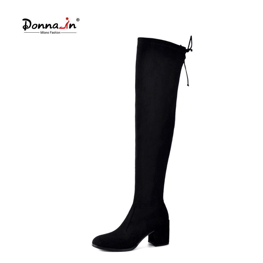где купить Donna-in Thigh High Boots Fashion over the Knee Boots Women Stretch Sock Long Boots Square Toe Thick High Heels Black Shoes Lady по лучшей цене