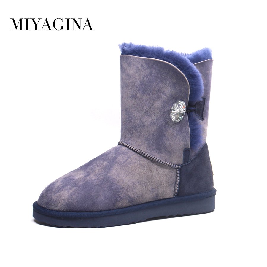 Top Quality New Genuine Sheepskin Leather Mid-calf Snow Boots Natural Fur Botas Mujer Fashion Waterproof Real Wool Women Shoes
