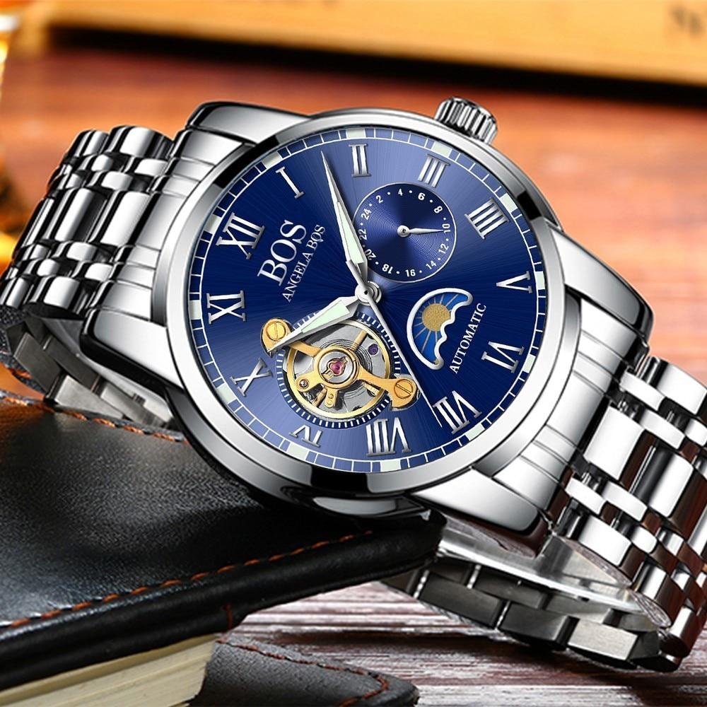 ANGELA BOS Czarny Mechaniczny Automatyczny Zegarek Mężczyźni Faza - Męskie zegarki - Zdjęcie 1