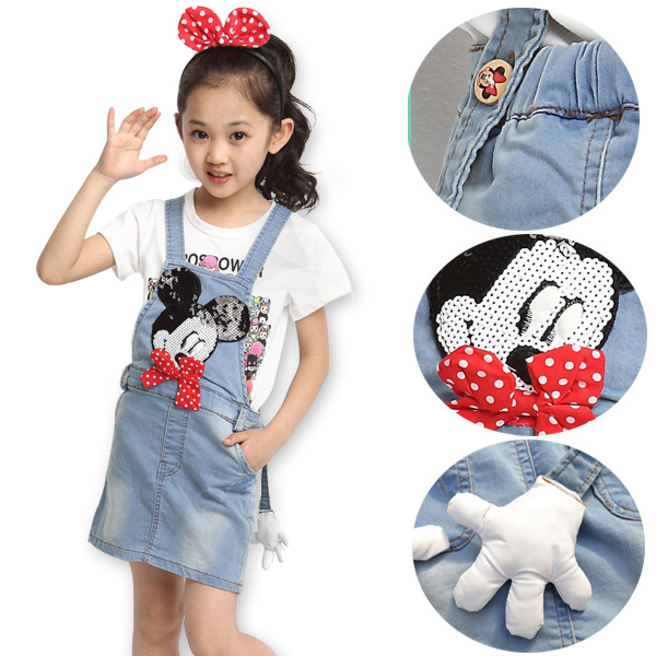 9f5dde2a340 The New 2016 Children s British Girl Summer Wear Cuhk Children Mickey  Shoulder-straps High Quality Children s Wear