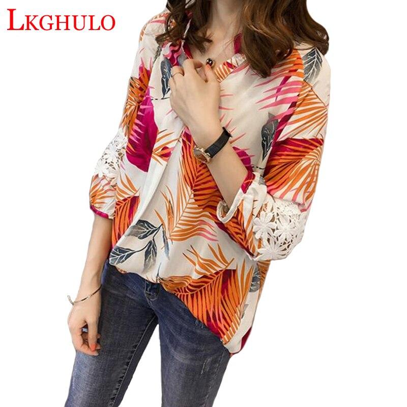 2018 nouveau printemps été femmes Blouse chemise mode femmes décontracté lâche Blouse dames impression grande taille M-4XL petit haut W90