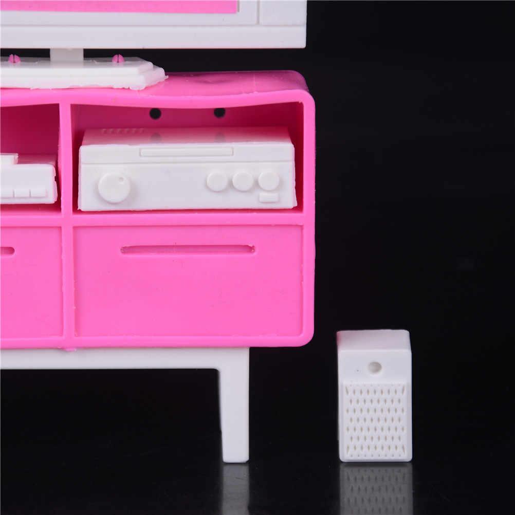 1 Juego, armario de pie de plástico para televisión, escala 1/6 para casa de muñecas Barbie, muebles para casa de muñecas