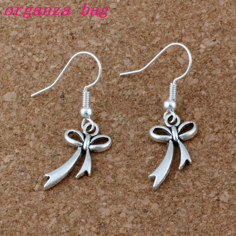 And Great Variety Of Designs And Colors Bow Knot Earrings Silver Fish Ear Hook 30pairs/lot Antique Silver Chandelier Jewelry 11x 37mm A-202e Famous For High Quality Raw Materials Full Range Of Specifications And Sizes