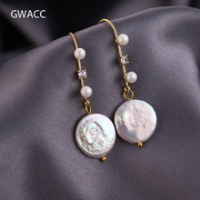 GWACC 2019 NEW Design Natural Pearls Drop Earrings For Women Fashion Simple Gold Color Oblate Irregular Pearl Jewelry