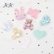 JOJO BOWS 10pcs Sequin Embroidery Patches Heart Crown Bow Mickey Bear Rabbit Pattern Accessories For Needlework Garment Sewing