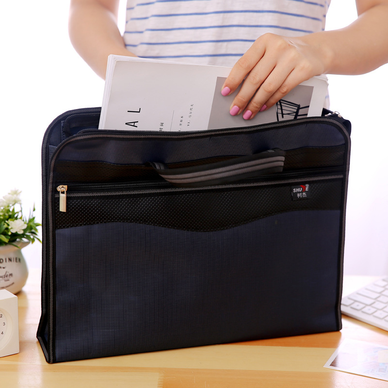 Portable Document Bag A4 Waterproof And Thickened Zipper Canvas Double-Layer Files Folder Office Briefcase Business Tute Filling