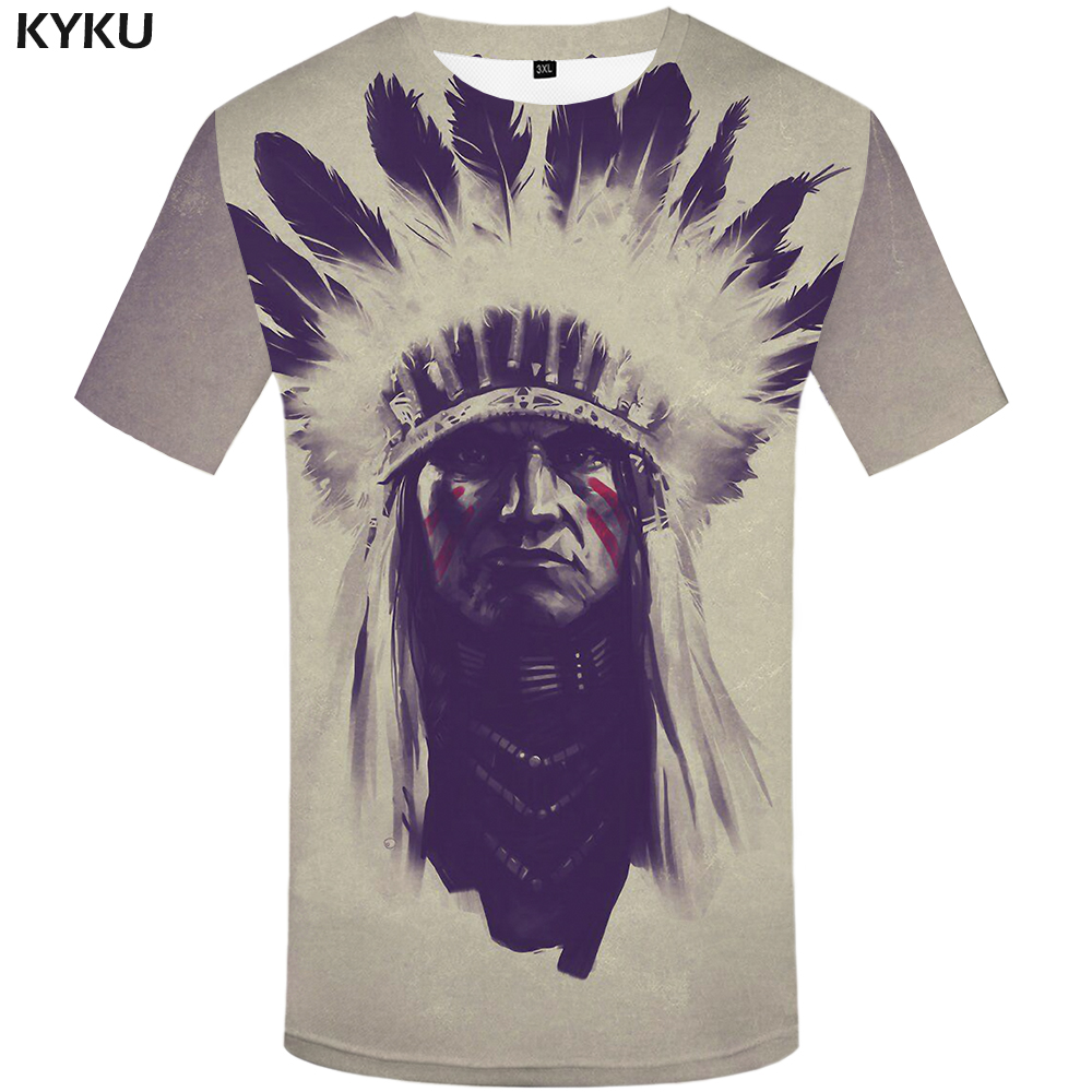 KYKU Indians Tshirt Men White Feather   T     Shirt   Hip Hop Anime Clothes Character 3d Print   T  -  shirt   Punk Rock Mens Clothing Summer