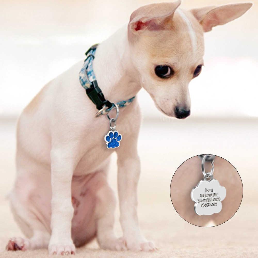 Anjing ID: Terukir Logam Disesuaikan Hewan Peliharaan Kategori Besar Kecil Anjing Aksesoris Pribadi Tulang Paw Nama: Plat Kerah Dekorasi
