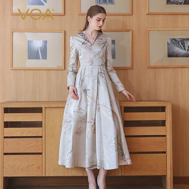 VOA Autumn Winter Plus Size Vintage Silk Jacquard High Waist V Neck Tunic Dress Grey Print Slim Women Maxi Long Dress ALX18901