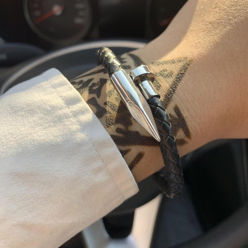 Luxury Brand man genuine leather braid handmade Arrow Nail charm bracelet stainless steel bracelets bangles for men jewelry