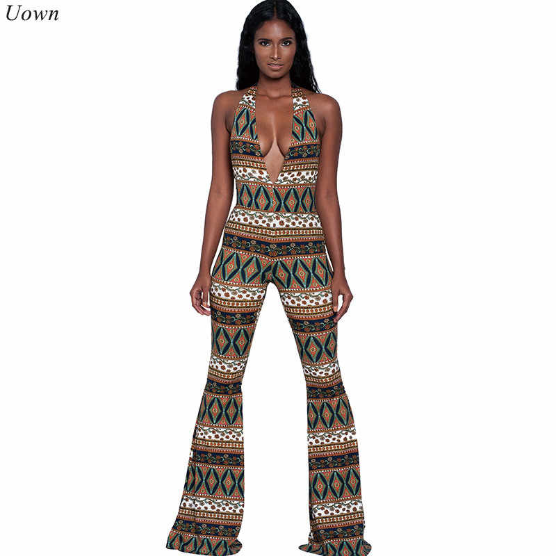 a6ecb1c97b5a Backless Wide Leg Jumpsuit Runway Rompers Fashion Women Sleeveless  Traditional Print Deep V-Neck Halter