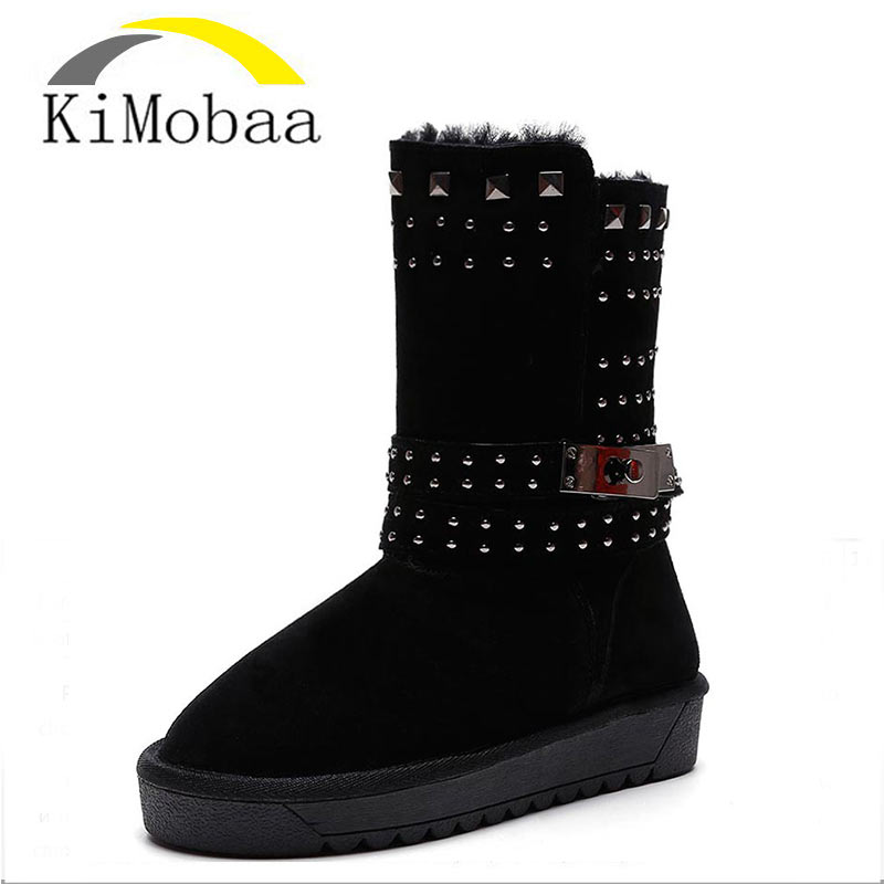 Kimobaa Snow Boots Women Winter Keep Warm Shoes Calf High Genuine Leather Cowhide Botas Mujer Wool Round Toe Big Size TX181 prova perfetto winter women warm snow boots buckle straps genuine leather round toe low heel fur boots mid calf botas mujer