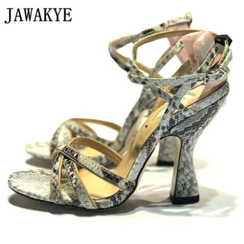 Sexy gold snakeskin Women Sandals square toe cross-tied Stilettos woman metal ankle strap high heel sandals Women Party shoes
