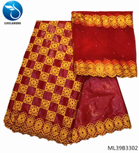 LIULANZHI bazin riche getzner red color brocade jacquard fabric african cotton fabric with 2yards soft lace 7yards/lot ML39B33 liulanzhi bazin riche getzner african fabric lace fabric new arrival orange 5yards cotton 2yards scarf 7yards lot hlb68