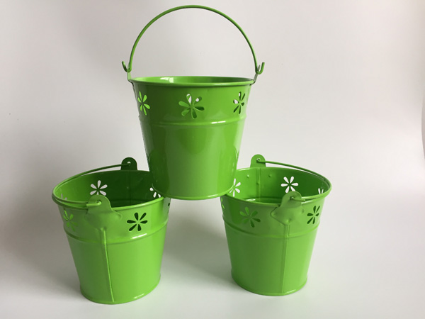 10pcslot D11h10cm Metal Pails Green Flower Pot Wedding Tub Easter
