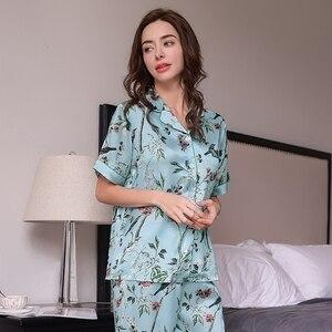 Image 3 - אמיתי משי נשים של פיג מה 100% תולעי משי משי הלבשת באיכות גבוהה מודפס קצר שרוולים Pyjama מכנסיים שני חלקים סטי T8152